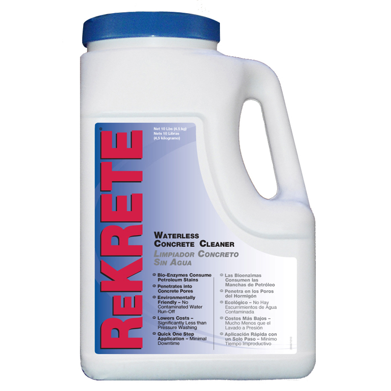Rekrete waterless oil stain remover 10lb tub 4 per case for Concrete cleaner oil remover